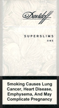 Davidoff Super Slims One (White) 100`s Cigarettes pack