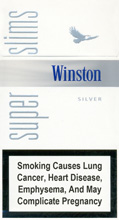 Winston Super Slims Silver 100`s Cigarettes pack